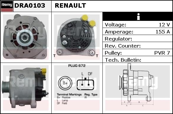 Alternator DELCO-REMY DRA0103