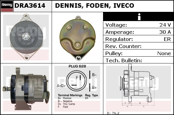 Alternator DELCO-REMY DRA3614