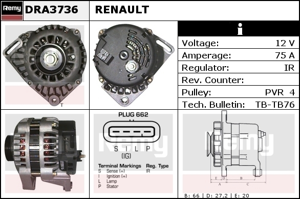 Alternator DELCO-REMY DRA3736 and its equivalences