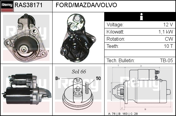 ATL ANLASSER 1,1 kW FORD C-MAX FIESTA IV+V FOCUS II FUSION PUMA MAZDA 2